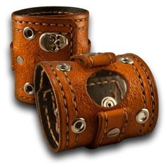 Range Tan Apple Leather Cuff Watch Band with Skull Snaps & Eyelets