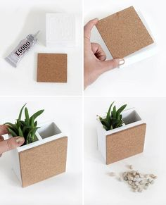 Weekend DIY Project: A multipurpose bookend the also functions as a succulent pot, mini cork board, and a pencil holder! Such a chic and functional desk accessory. Click through for a step by step tutorial by I Spy DIY | StyleCaster