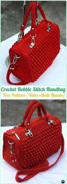 Crochet Bobble Stitch Handbag Free Pattern [Video] - Make a bright-hued statement accessory that's perfect for spring