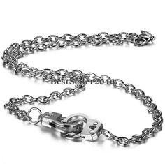 Charm Handschellen Anhänger mit Legierung Halskette Silber Damen Herren