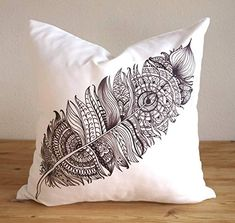 Pillow Cover - Native American Feather Design - Mandala Feather- Black and White Pillow - Cushion - Coussin- Tribal Feather Boho Home Décor