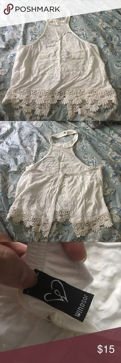 ✨NEW LISTING✨ Windsor - White Halter Top Worn once. A really cute white and flowy halter top where it is an open back and embroidery at the bottom and on the front. Please ask questions, and price is negotiable! Windsor Tops