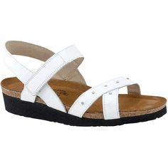 Naot Women's Alyssa, Style # 4326-024 in White | Slide into this strappy Alyssa sandal for women from the Naot footwear collection. Promising long lasting durability with soft leather upper, anatomical footbed, and rubber sole, the Naot Alyssa also features a smart sling back strap and a Velcro closure which will securely hold the feet and offer a snug fit. Women's Elegant Footbed. | Naot shoes available at www.TheShoeMart.com #TheShoeMart