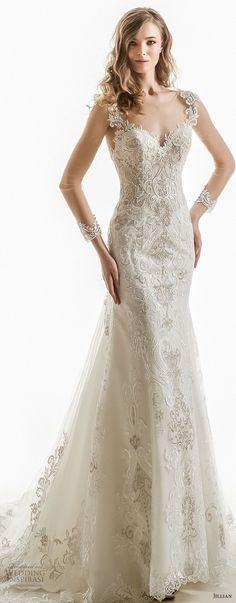 jillian 2018 bridal cap sleeves sweetheart neckline heavily embellished bodice elegant sheath wedding dress open v back chapel train (03) mv -- Jillian 2018 Wedding Dresses