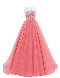 Dresstells Women's Long Tulle Prom Dress Dance Gown with Lace Coral Size 4
