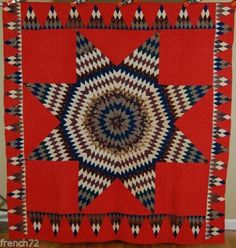 OUTSTANDING-1880s-Vintage-Lone-Star-on-Red-Antique-Quilt-NICE-PYRAMID-BORDER