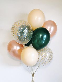 Rose gold dark green and confetti look latex rose gold and green bridal shower rose gold engagement party rose gold and dark green 20 rose gold wedding bands to make you blush Green Party Decorations, Party Planning, Wedding Planning, Green Bridal Showers, Deco Rose, Gold Balloons, Rose Gold Engagement, Solitaire Engagement, Dinosaur Birthday Party