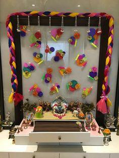 Top Creative Ganpati Decoration Ideas For Home That You Should Try Mandir Decoration, Ganpati Decoration At Home, Ganapati Decoration, Janamashtami Decoration Ideas, Diwali Decorations At Home, Festival Decorations, Flower Decorations, Stage Decorations, Wedding Decorations