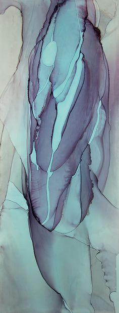 """""""Dive No. 9"""", ink on paper, 26""""x10"""", ©2017 Andrea Pramuk Art Studio, LLC, www.andreapramuk.com"""