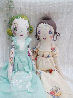 The Constant Gatherer: dolls Wonderful way to use vintage dresser scarves, doilies etc.