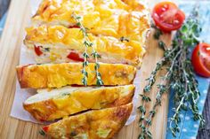 Crustless Quiche Loaf | I doubled the baking time - lovely loaf! Every oven is different. Nice to know you can cut/test and put this back in the oven, and it stays fluffy and doesn't fall. Tasty! I think you could add lots of different veges in this.