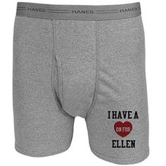 I Have A Heart On For Ellen  Hanes Heather Grey Boxer Brief Underwear >>> Want additional info? Click on the image. #my
