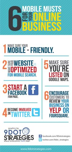 Mobile Musts For Your Online Business #mobilemusts #9dotstrategies