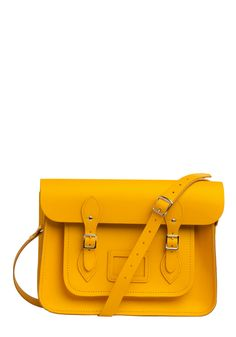 "Upwardly Mobile Satchel in Yellow - 14"" by The Cambridge Satchel Company  - Yellow, Solid, Buckles, Casual, Luxe, Urban"