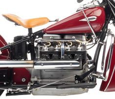 The Indian Four is considered by many to be one of the most handsome American motorcycles of the century, if not all time. Its sweeping fenders Motorcycle Rallies, Motorcycle Engine, Motorcycle Clubs, Motorcycle Design, American Motorcycles, Cars And Motorcycles, Indian Motorcycles, Ducati, Motor Works