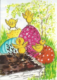 Postcrossing postcard from Finland Hoppy Easter, Easter Bunny, Easter Eggs, April Easter, Art Deco Illustration, Egg Decorating, Illustrations And Posters, Rock Art, Designs To Draw