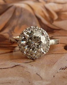 Round Moissanite and Diamond Halo Ring  14k White by kateszabone, $2295.00
