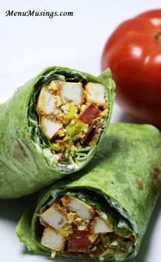 BLT Buffalo Chicken Wrap - make your brown bag lunch the envy of the office with these garden fresh wraps with the bold flavors of buffalo chicken.  Also perfect for your picnics and tailgating parties.  Step-by-step photos.