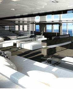 White lounge area inside the CRN Dislopen superyacht line _