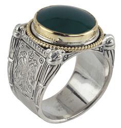 Konstantino Sterling Silver & 18k Gold Round/ Boxed Green Agate Stone Ring