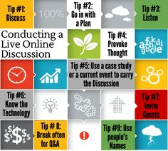 Need a few tips on what to do in your live online discussion? Here are a few to get started.