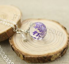 Resin Pendant Necklace, Real flowers encased in resin orb, Pressed Flower Jewelry, Purple Queen Annes Lace Pendant, Real Cute Jewelry, Flower Jewelry, Jewelry Accessories, Jewelry Design, Jewlery, Resin Jewelry, Jewelry Crafts, Handmade Jewelry, Cluster Necklace