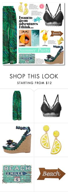 """Summer vacation party"" by norairh on Polyvore featuring Elie Saab, LE3NO, Lanvin, Celebrate Shop and Mud Pie"