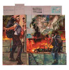 """""""El Mochilero"""" del artista Hugo Gallegos.  Políptico intercambiable, Acrílico sobre madera, 125 x 130 cm, 2012."""