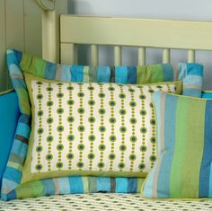 Turquoise and green pillow from PoshTots