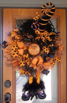 Witch Wreath Orange and Black with Velvet Hat by CheerfulDoor