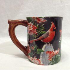 Cardinal Wild Wings Garden Gateway Susan Bourdet Embossed #birdwatching  16 oz Coffee #mugs  #WildThings