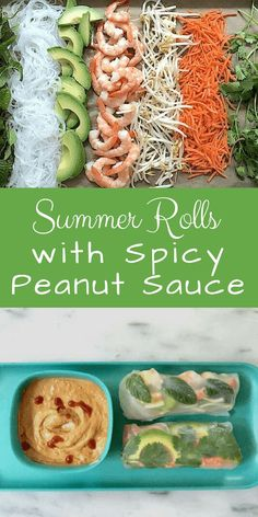 Summer Rolls with Peanut Sauce: Summer rolls can be made ahead. Arrange them in a single layer (not crowded), cover with plastic wrap, and store in the fridge. Leftover Peanut Sauce makes an excellent dip with crunchy raw vegetables. Appetizers For A Crowd, Seafood Appetizers, Cheat Meal, Shrimp Spring Rolls, Thai Spring Rolls, Fresh Spring Rolls, Chicken Spring Rolls, Vietnamese Spring Rolls, Bette