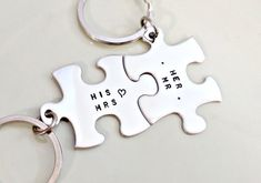 Personalized Key Chain Set - Hand Stamped Puzzle Pieces Set - Custom His & Hers - Bridesmaid, Wedding, Anniversary, Graduation Gift. $34.00, via Etsy.