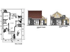 Denah Rumah Dan Tampak - Kreasi Rumah Home Map Design, Home Design Plans, House Design, House Map, Architecture Drawings, Autocad, House Plans, Floor Plans, Layout