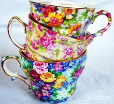 teacups, from bottom RW Julia, English Rose, and James Kent, DuBarry