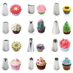 Stainless Steel Icing Piping Nozzles Cake Cupcake Decoration Tips Baking Tools is part of Cupcake decorating tips - Material Stainless Steel Made of high quality stainless steeldurable and healthy The item should be in its original condition Cupcake Decorating Tips, Cake Decorating Piping, Creative Cake Decorating, Creative Cakes, Cookie Decorating, Cake Decorating For Beginners, Cupcake Decorations, Russian Cake Decorating Tips, Decoration Patisserie