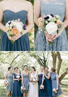 mismatched blue bridesmaids @weddingchicks