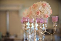 Roses and hydrangea centerpieces
