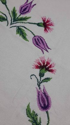 This Pin was discovered by Gul Cross Stitch Samplers, Cross Stitching, Cross Stitch Embroidery, Embroidery Patterns Free, Embroidery Designs, Lavender Bags, Prayer Rug, Craft Work, Needle And Thread