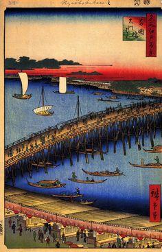 53 Ryogoku Bridge and the Great Riverbank