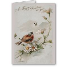Vintage Christmas Cards  So sweet! A very cute old illustration of an adorable little bird in a flower bush. The captions rea...