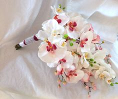 Cascade Orchid Bouquet  phalaenopsis orchid bouquet tropical wedding bouquet on Etsy, $85.00