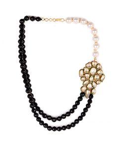 Pearl and Black Bead Necklace with Kundan Pendant by Hema Khasturi Shop Now: http://goo.gl/ZrFYxU #Gold #Earrings #Multicolour #Ethnic #StatementNecklace #Bling #India #Fashion #Jewelry #Indian #Designer #Jewellery #Multicolor #Desi #SemiPrecious #Stones #Crystals #Pearl #Kundan #TasselNecklace
