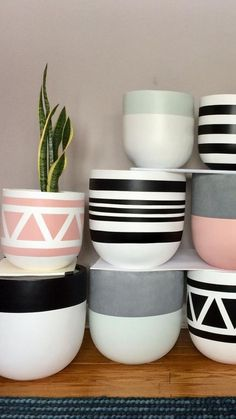 Canadian Home Decor by Common House Studio - Shop Local CANADA - Canadian Decor by Common House Studio Painted Plant Pots, Painted Flower Pots, Decorated Flower Pots, Home Decor Styles, Home Decor Items, Diy Home Decor, Home Modern, Trendy Home, Diy Crafts To Sell