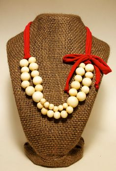 Wood bead necklace with Red yarn by BeCraftHappy on Etsy,
