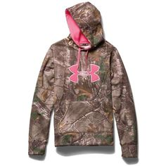 Features of the Under Armour Women's Big Logo Hoody Armour Fleece fabric New embroidery logo applique Kangaroo front pocket Drawcord hood