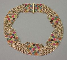 Bead work Collar Necklace Vienna, early 20th century Multicolor, worked with harlequin pattern segments attached with multiple strand sections.
