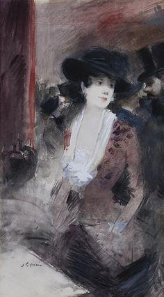 "Jean-Louis Forain (French, 1852-1931), ""Au foyer du..."