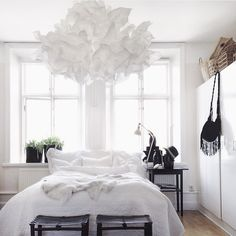 Cloud like ikea lampshade interior design ikea bedroom, bedr Ikea Bedroom, Home Bedroom, Bedroom Decor, Interior Design Ikea, Interior Design Living Room, Krusning Ikea, Luminaire Ikea, Swedish Decor, Ikea Lamp