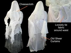How to Make Human-Size Ghosts - Chicken wire and gauze come together to create ghoulish ghost figures that can stand on their own or fly from the trees. Click for larger image